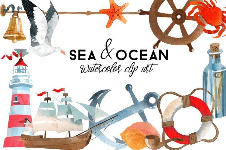 Sea & Ocean. Watercolor Clip Art example image 1