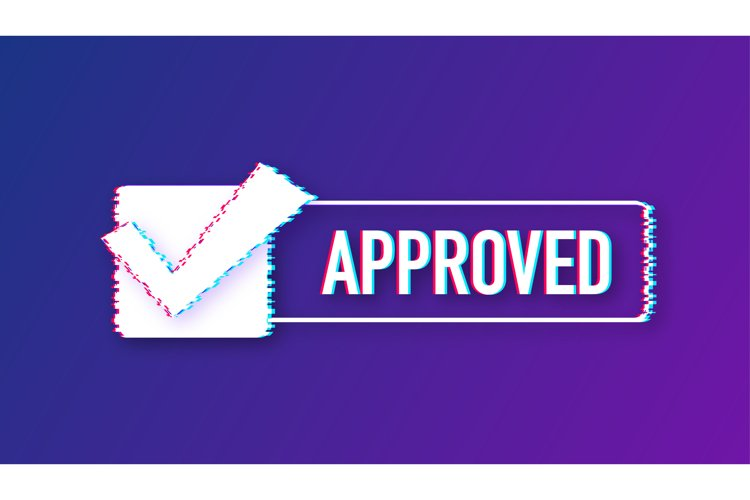Approved glitch style medal. Round stamp for approved example image 1