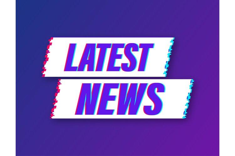 Latest news glitch icon. Megaphone banner. Web design. example image 1