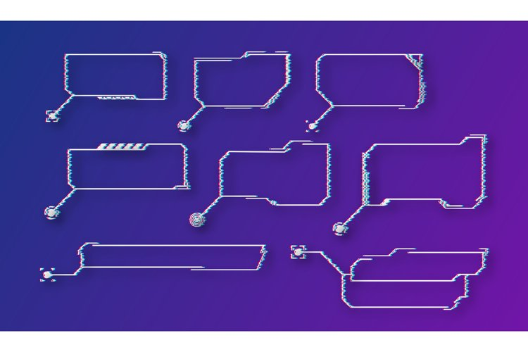 Abstract Hud Design, Glitch set icon. Vector illustration example image 1