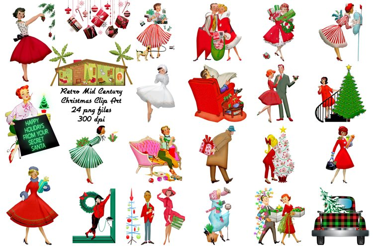 Retro Mid Century Christmas Restored Clip Art