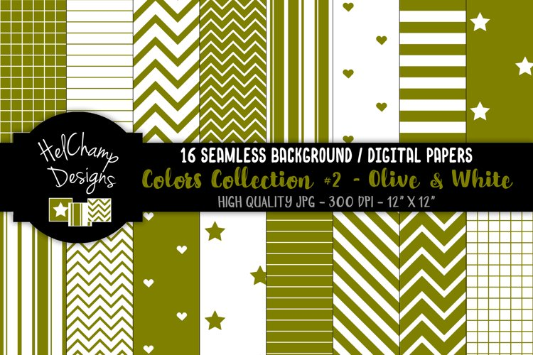 16 seamless Digital Papers - Olive and White - HC167