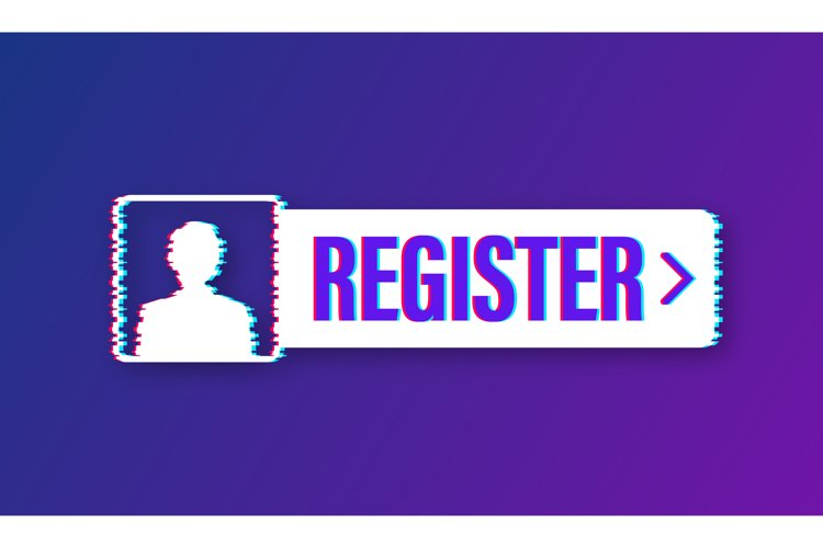Banner register now. Glitch icon. Vector stock illustration example image 1