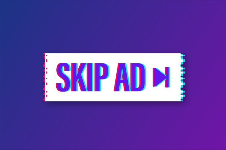 Skip advertisement web glitch icon isolated on the white example image 1