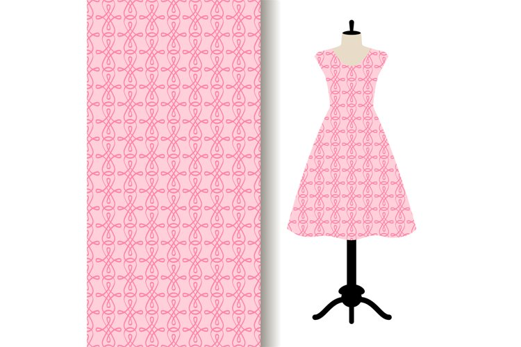 Women dress fabric with pink pattern example image 1