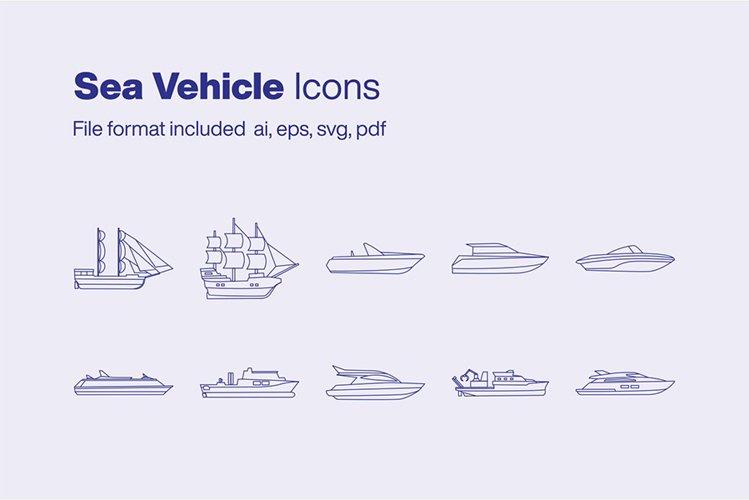 Sea Vehicle 10 Icons example image 1