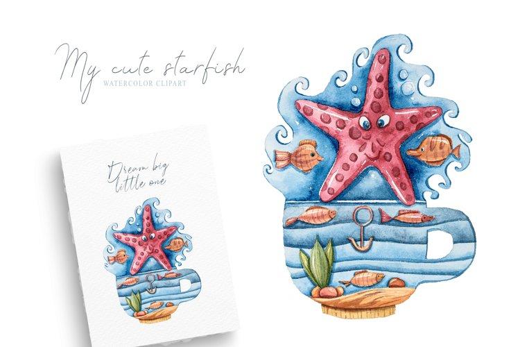 Watercolor underwater magic starfish clipart