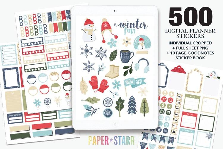 500 Winter & Christmas Digital & Printable Planner Stickers example image 1
