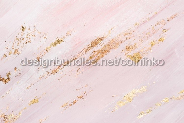 Delicate pink marble background or texture with gold accents example image 1