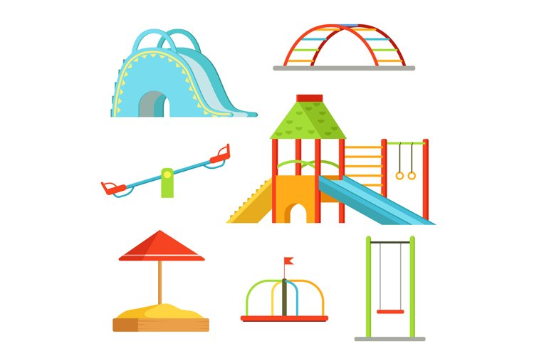 Different equipment on playground for children games. Vector example image 1
