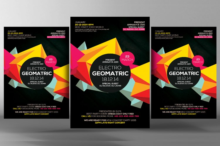 Electro Vibes Geometric Flyer example image 1