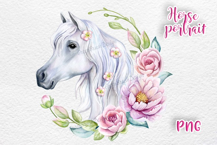 Watercolor Horse Clipart with floral frame