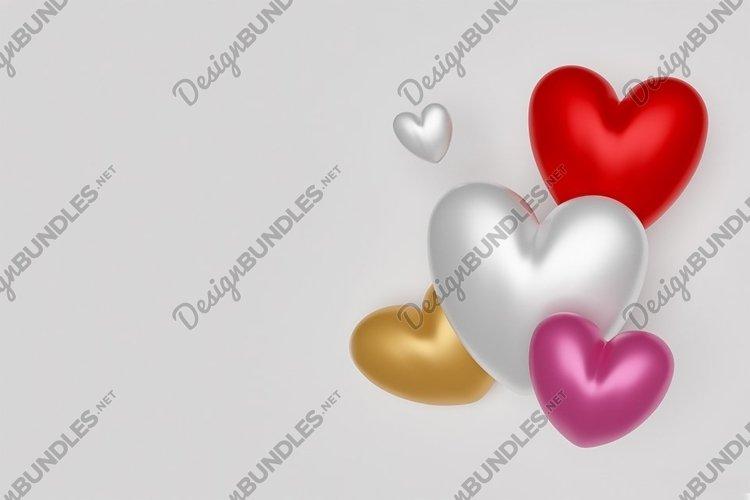 Valentines day mockup. Multicolored hearts. Wedding.