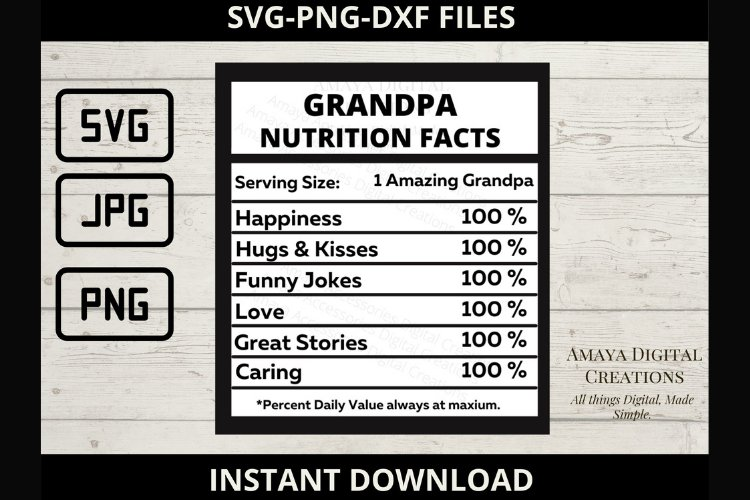 Grandpa Nutrition Facts Template, Png,Jpg,Svg Files example image 1