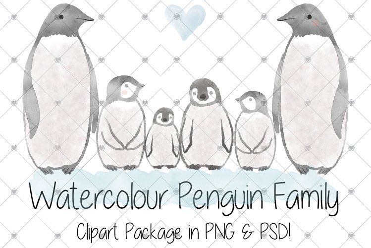 Watercolour, Penguins, Zoo, Penguin, Animals, Family, example image 1