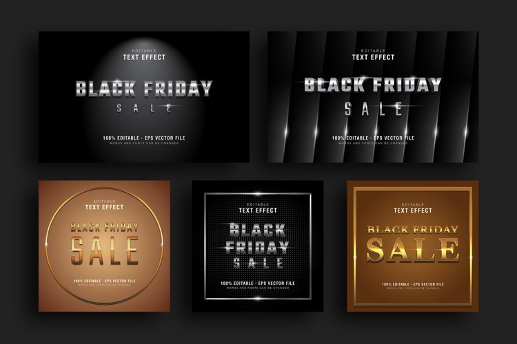 5 Black Friday Text Effect Silver Gold Illustrator example image 1