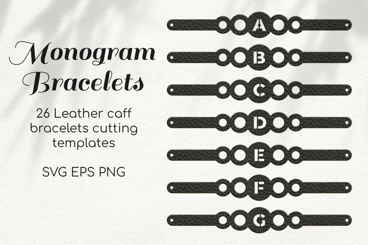 Leather Bracelets with Monogram SVG Template for cutting DIY