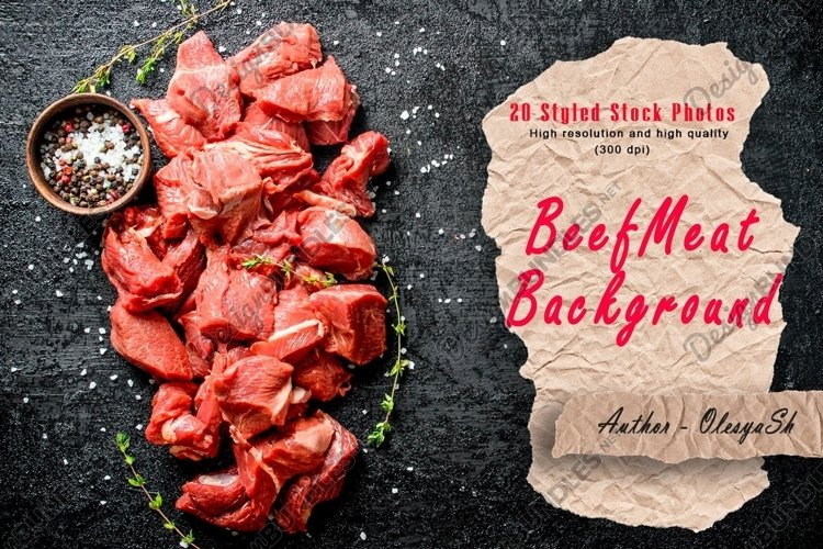 20 Photos Cut raw beef with spices. Raw beef background example image 1