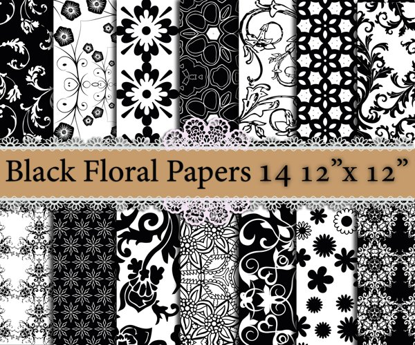 Black floral digital papers example image 1