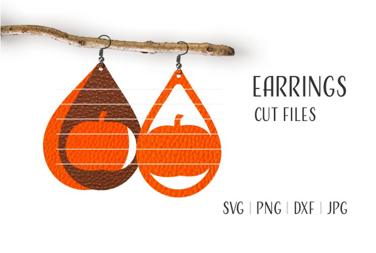 Pumpkin Earrings Svg / Halloween Svg / Laser Cut example image 1