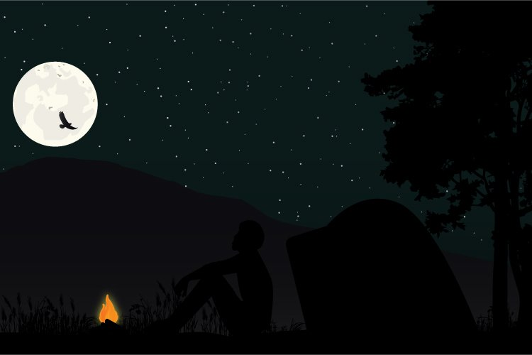 nature camping silhouette, simple vector illustration example image 1