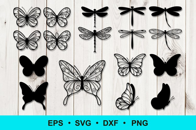 Butterfly and Dragonfly Silhouette Outline Clip art example image 1