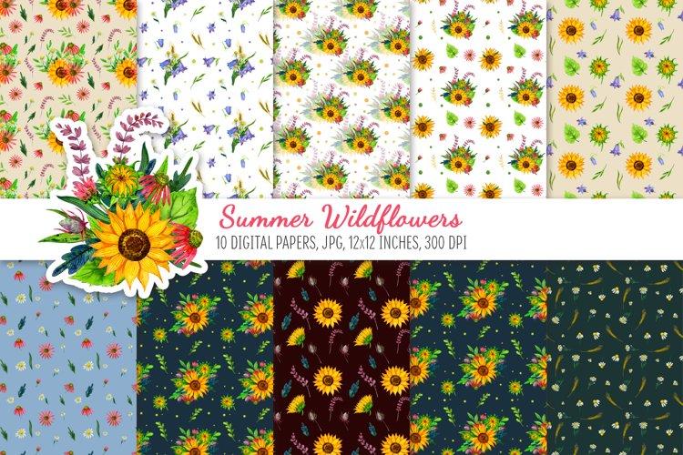 Digital Scrapbook Paper Pack. Summer Wildflowers