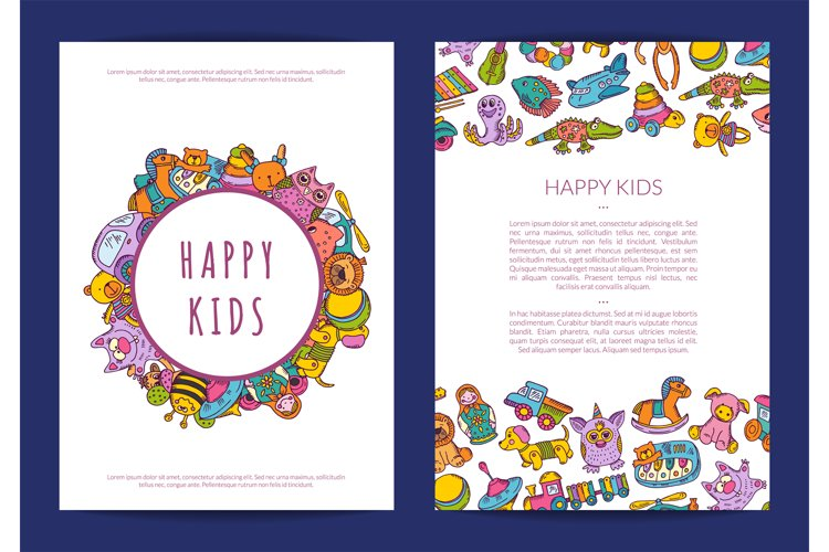 Vector card template hand drawn children toys on background example image 1