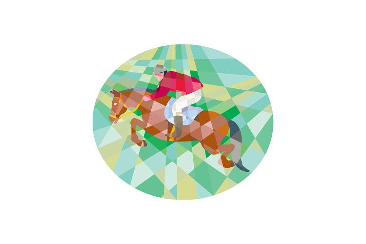 Equestrian Show Jumping Oval Low Polygon example image 1