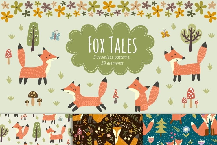 Fox Tales: patterns & clipart example image 1