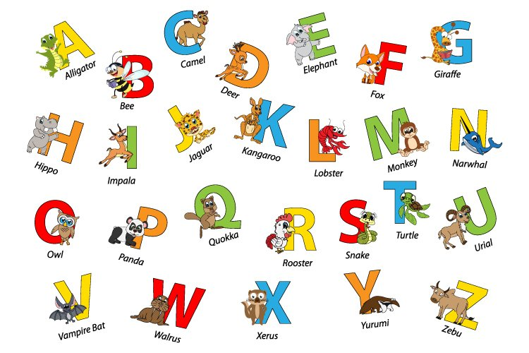 Uppercase with cute animal character example image 1