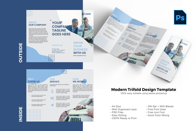 Business trifold brochure design template example image 1
