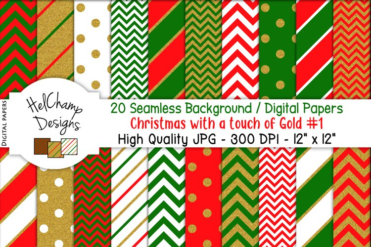 20 seamless Digital Papers - Christmas with Gold - HC006