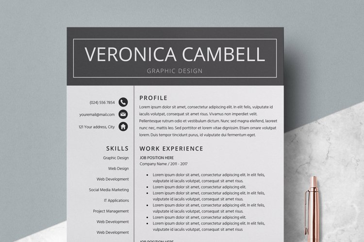 Resume | CV Template Cover Letter - Veronica Cambell example image 1