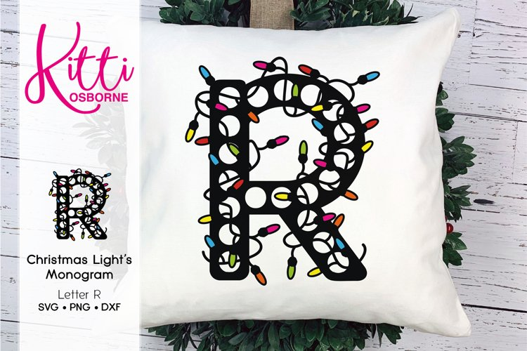 Christmas Lights Monogram Letter R example image 1