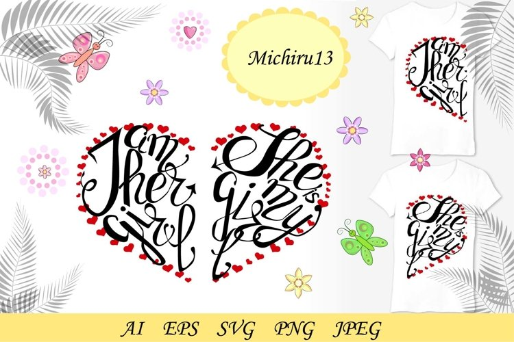 Pair lettering for a pair of girls in love example image 1