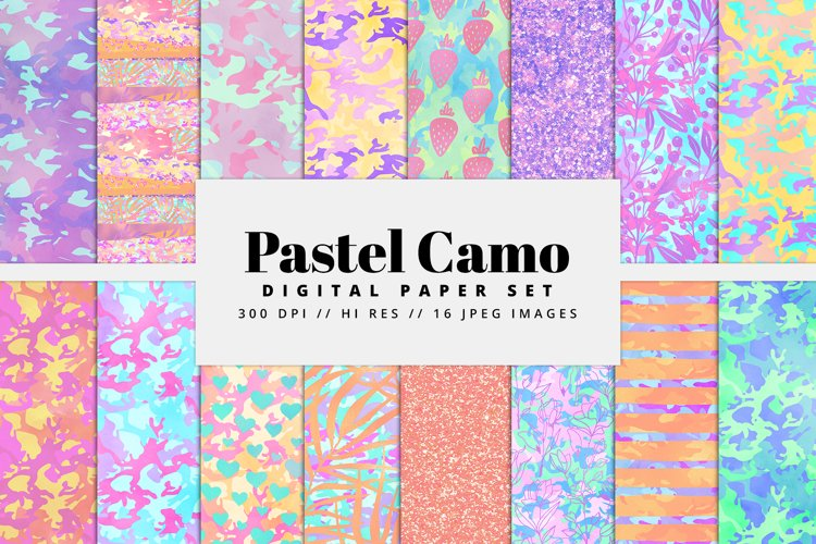 Pastel Camo Digital Paper Pack example image 1