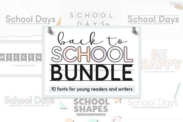 School Font Bundle - Easy to Read and Trace Fonts example image 1