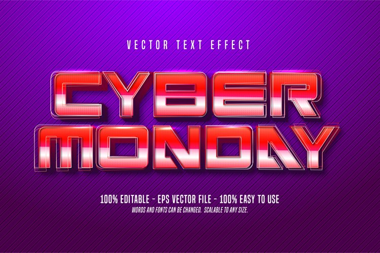 Cyber Monday text, Retro style editable text effect