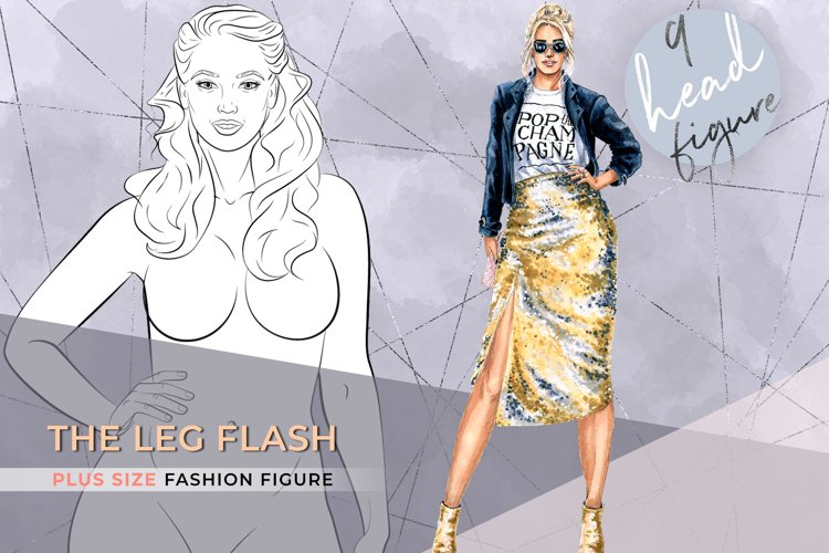 The Leg Flash| Plus size Fashion Figure 9 heads