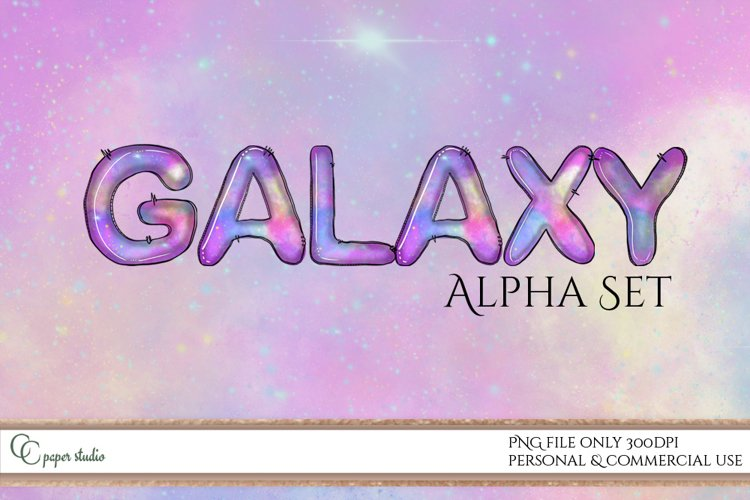Alphabet set - Sublimation Doodle letters - Galaxy