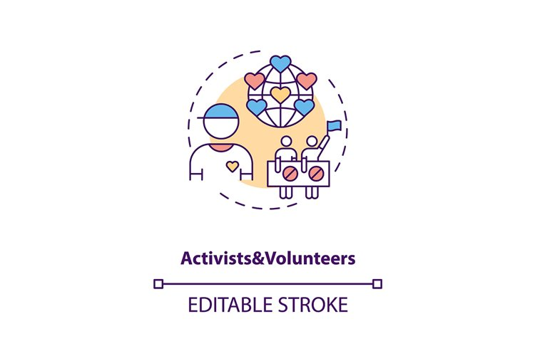 Activists and volunteers concept icon example image 1