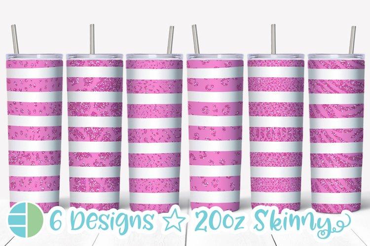 Skinny Tumbler Sublimation Design Pink Animal Print Glitter example image 1