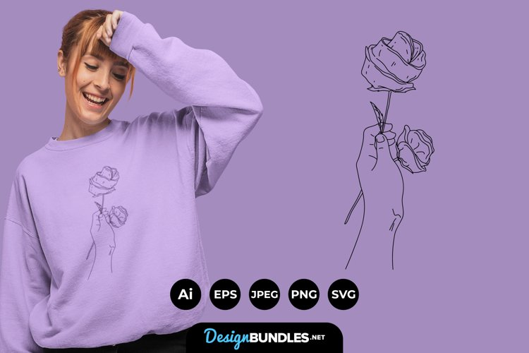 Hand and Rose Illustrations for T-Shirt Design