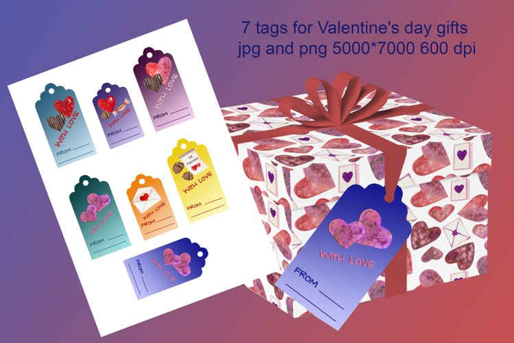 7 watercolor tags for Valentine's day gifts example image 1
