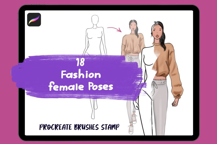 Procreate Fashion Poses stamp, Body Guide, Figure Procreate