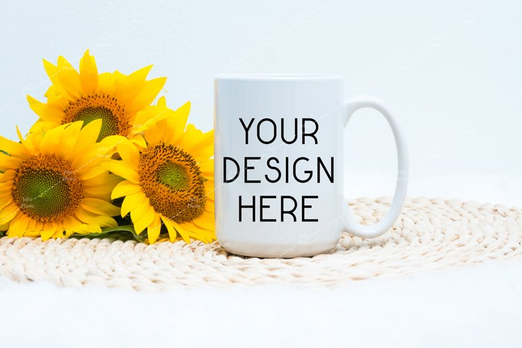 15 Oz Blank White Coffee Cup Mug Mockup Sunflowers example image 1