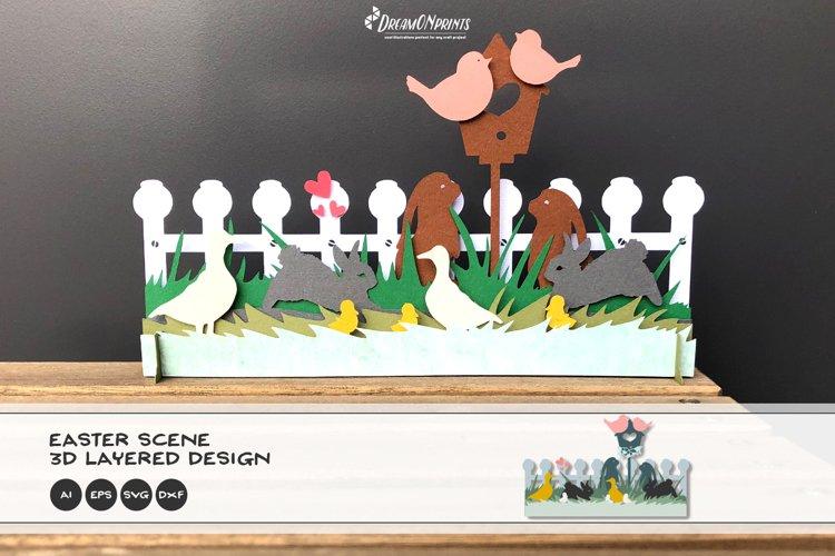 3D Easter Scene SVG   Easter SVG 3D Layered Design example image 1