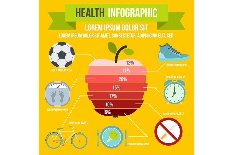 Health infographic, flat style example image 1