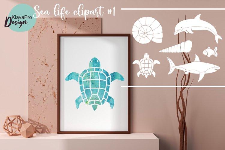 Sea life SVG silhouettes clipart